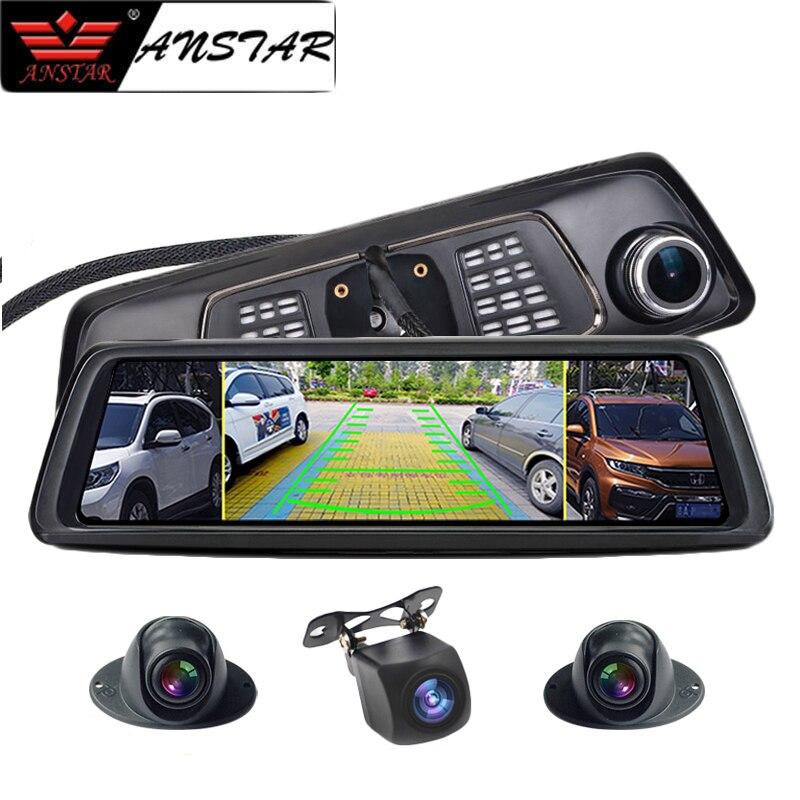 Anstar 4G Câmera Do Carro Espelho Retrovisor DVR 2 GB + 32 GB 4CH Câmeras Traço Cam 10