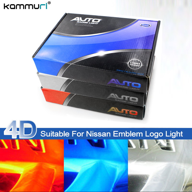KAMMURI Car Styling 4D LED Badge Bulb Emblem Logo Light for Nissan Tiida X-Trall Geniss Livina Cedric Rear Badge Logo Light auto logo sticker 5d car logo light led emblem light for ford front & rear badge emblem car led light front emblem stickers