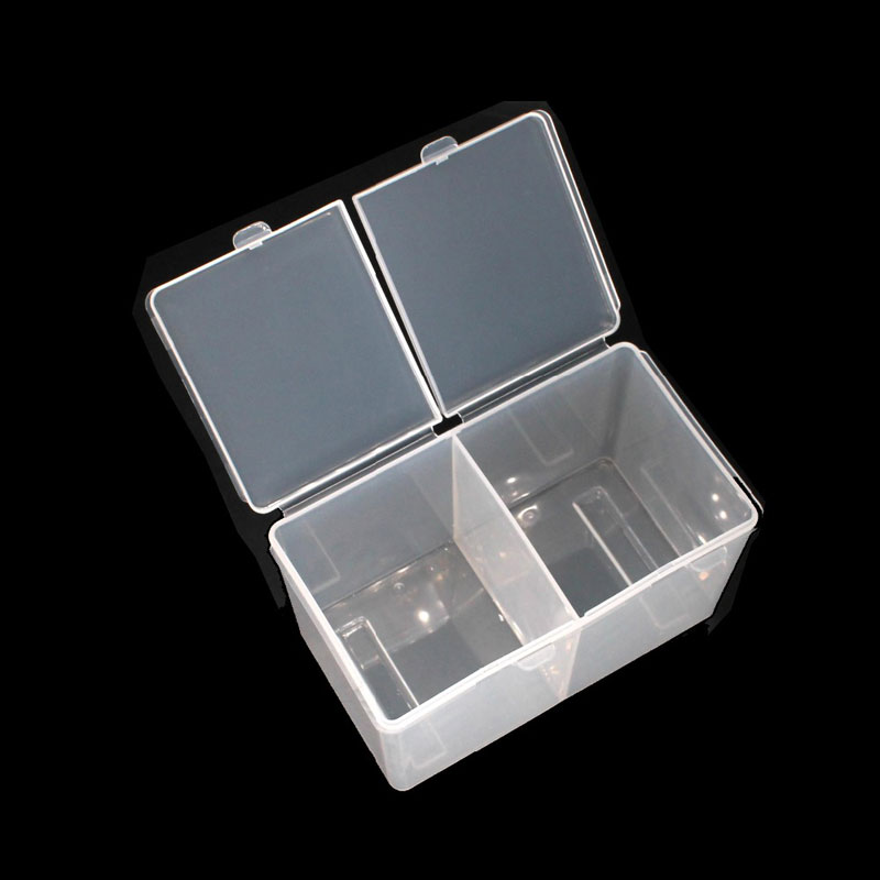 Double Grids Transparent Cotton Sheet Container Storage Case Makeup Organizer Make-up Cotton Pad Box Cotton Swab Box
