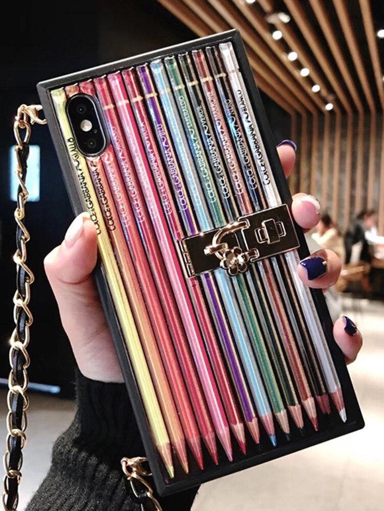 100% QualitäT Farbe Bleistift Fall Für Iphone 7 8 Plus Xs Xr Max Handy Shell Persönlichkeit Kreative Mit Lanyard Mode Rucksack Telefon Fall