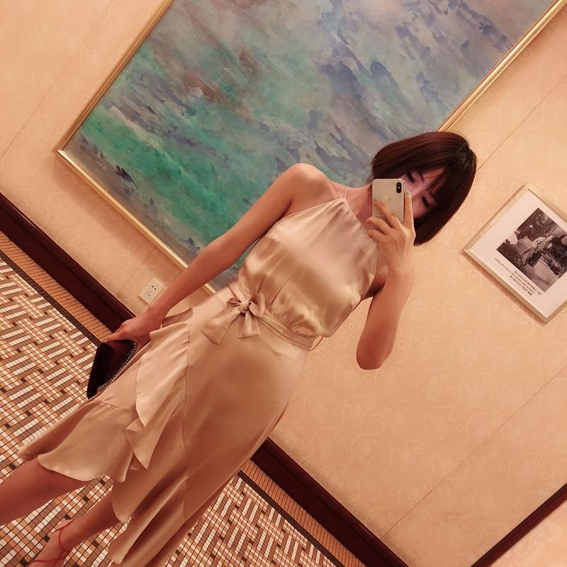 High-grade-champagne-silk-satin-fishtail-Double-ruffles-slash-neck-halter-dress-with-belt