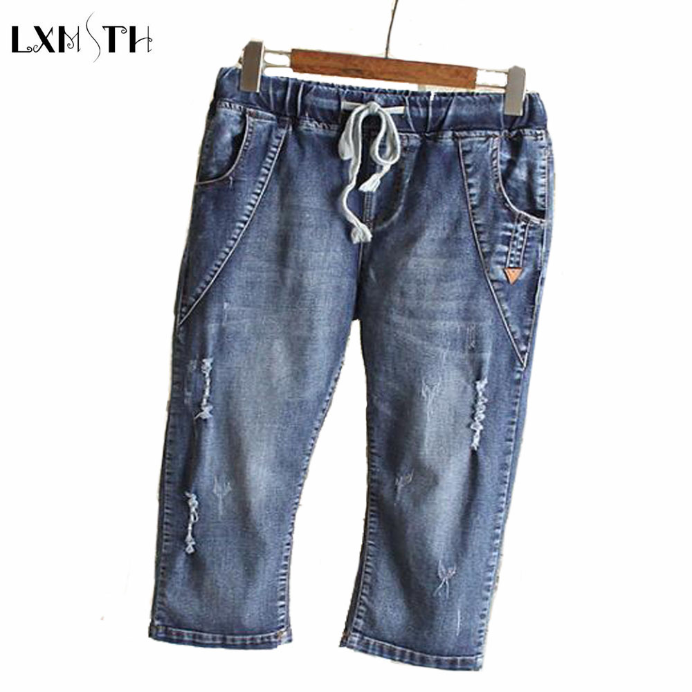 4XL 5XL 6XL Summer jeans Women 2017 High Waist Denim jeans Womens Plus Size Hole Stretch Slim Calf Length Pants Trousers Female 2017 new jeans women spring pants high waist thin slim elastic waist pencil pants fashion denim trousers 3 color plus size