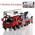 Сплав инженерной поднимите пожарная машина модель автомобиля 1:50 воздушный пожарная лестница поддержка оригинальный литой модели игрушки 625014