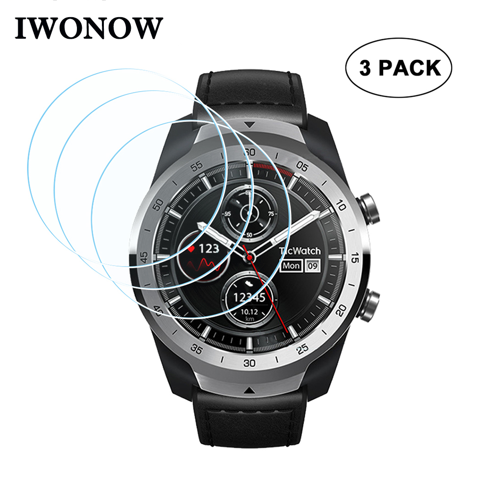 9H Hardness Tempered Glass + Wipes + Dust Absorber For Ticwatch Pro Watch Band Screen Protector Anti Scratch Protective HD Film