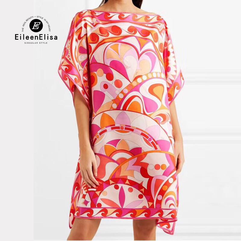 Chauve Femelle Printemps En 2019 Manches Robe souris Vêtements Robes Imprimé Élégantes Soie Femmes qBwAUfI