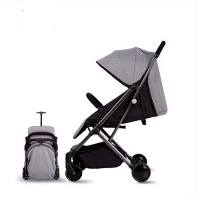 Chariot bébé pliable portable chariot bébé tringle à tirer à quatre roues peut s'asseoir dans une voiture parapluie inclinable