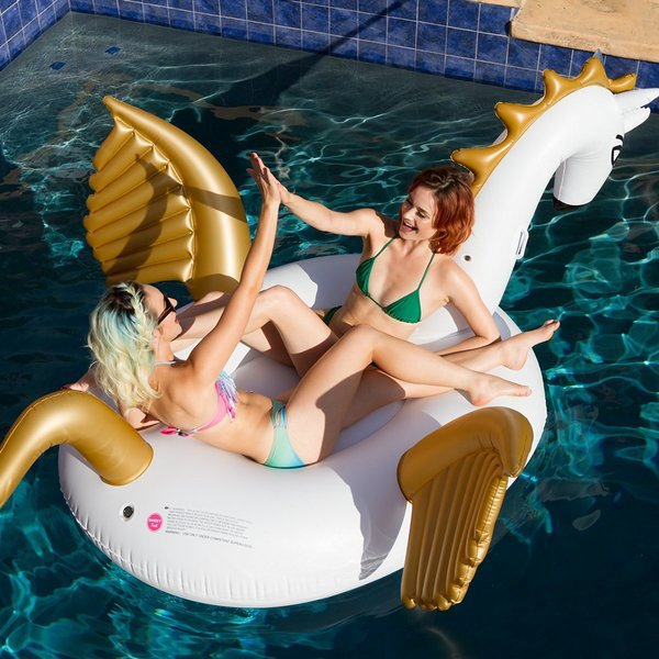 Giant Inflatable Swimming Pool Float Pegasus Summer Outdoor Beach Water Toys Rest Lounger Air Mattress Raft Piscina 2.5*2.5*1.3M yard backyard octopus inflatable water park slide swimming pool with water cannon for kids hot summer dhl free shipping to asia