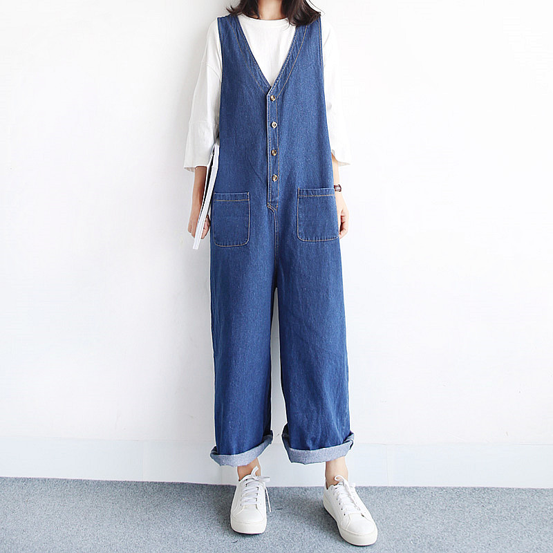 Wide leg v neck denim jumpsuit loose deep  female all-match vest design bib pants trousers