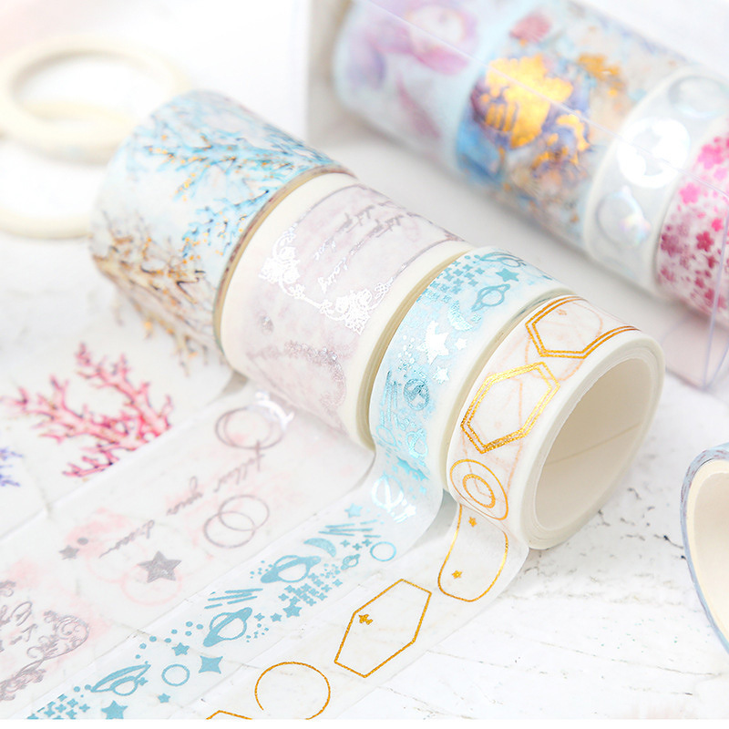 Coloffice Lovely Sea World Series Washi Tape Combination Creative Hot Stamping Pattern Beautiful Handbook Tape Set Stationery