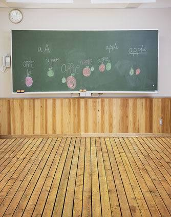 10x20ft Indoor Classroom Blackboard Clock Wooden Floor