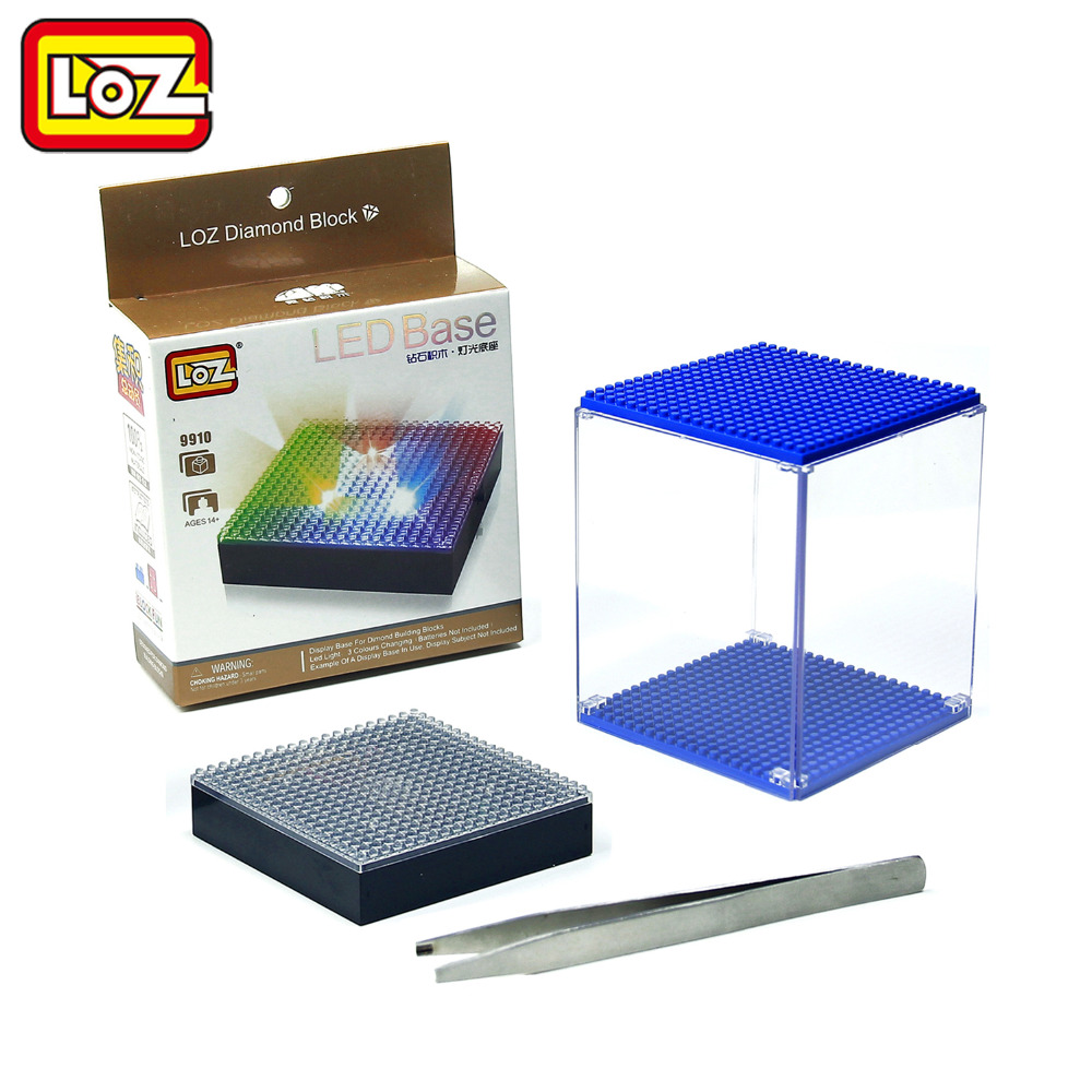 LOZ Display Box and LED Base Transparent for Diamond Building Blocks Multicolor Compatible With Wisehawk QCF LOZ