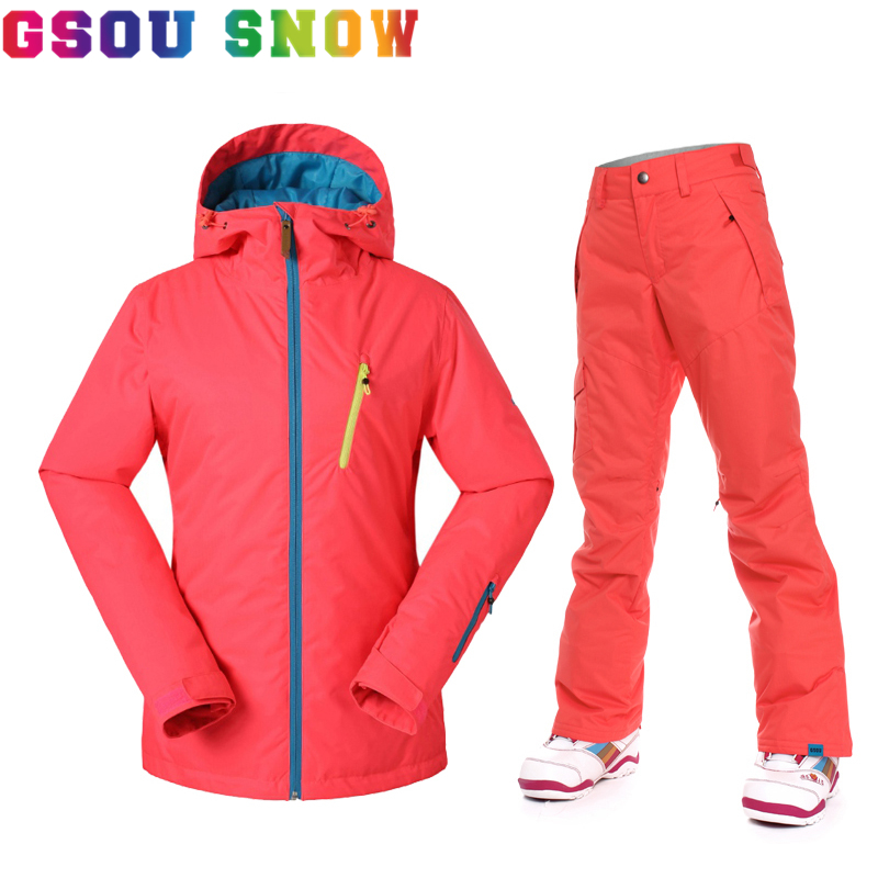 Gsou Snow New Women Snowboard Jacket Pants Ski Suit Super Warm Light Top Quality Waterproof Breathable Winter Ski Sport Clothes anne klein 2836 jade