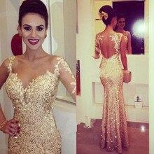 купить Robe De Soiree 2015 New Arrival One Long Sleeve Evening Dress Mermaid Sequins Dress Wedding Party Dress Formal Evening Gowns по цене 7750.61 рублей