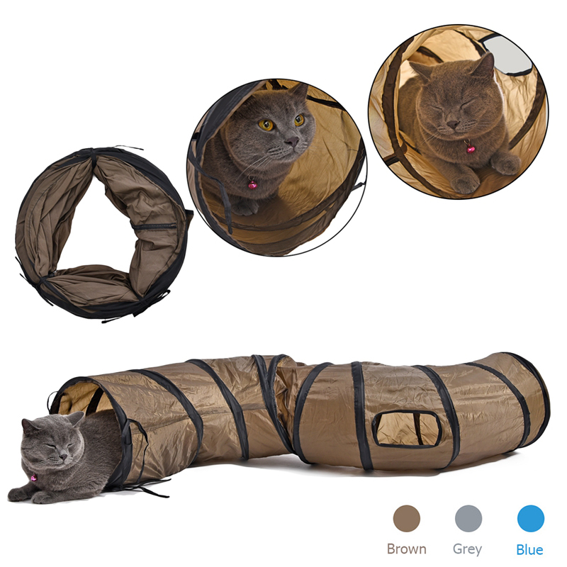 SFunny Pet Tunnel Cat Play Tunnel Brown Foldable 1 Holes Cat Tunnel Kitten Cat Toy Bulk Cat Toys Rabbit Play Tunnel image