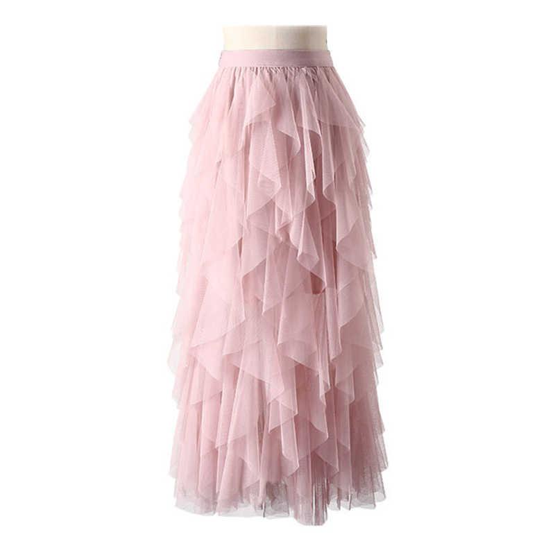 6c1e7bb3a ... TIGENA Fashion Tutu Tulle Skirt Women Long Maxi Skirt 2019 Spring S  Korean Black Pink High ...