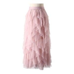 Image 2 - TIGENA Fashion Tutu spódnica z tiulu damska długa, maksi spódnica 2020 koreański śliczne różowe wysokiej talii plisowana spódnica kobieta szkoła słońce spodnica