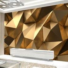 Современные креативные Настенные обои 3D стерео Золотая Геометрическая художественная настенная ткань для гостиной ТВ диван фон настенное покрытие домашний декор