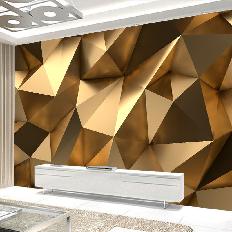 Modern Creative Mural Wallpaper 3D Stereo Golden Geometry Art Wall Cloth Living Room TV Sofa Backdrop Wall Covering Home Decor