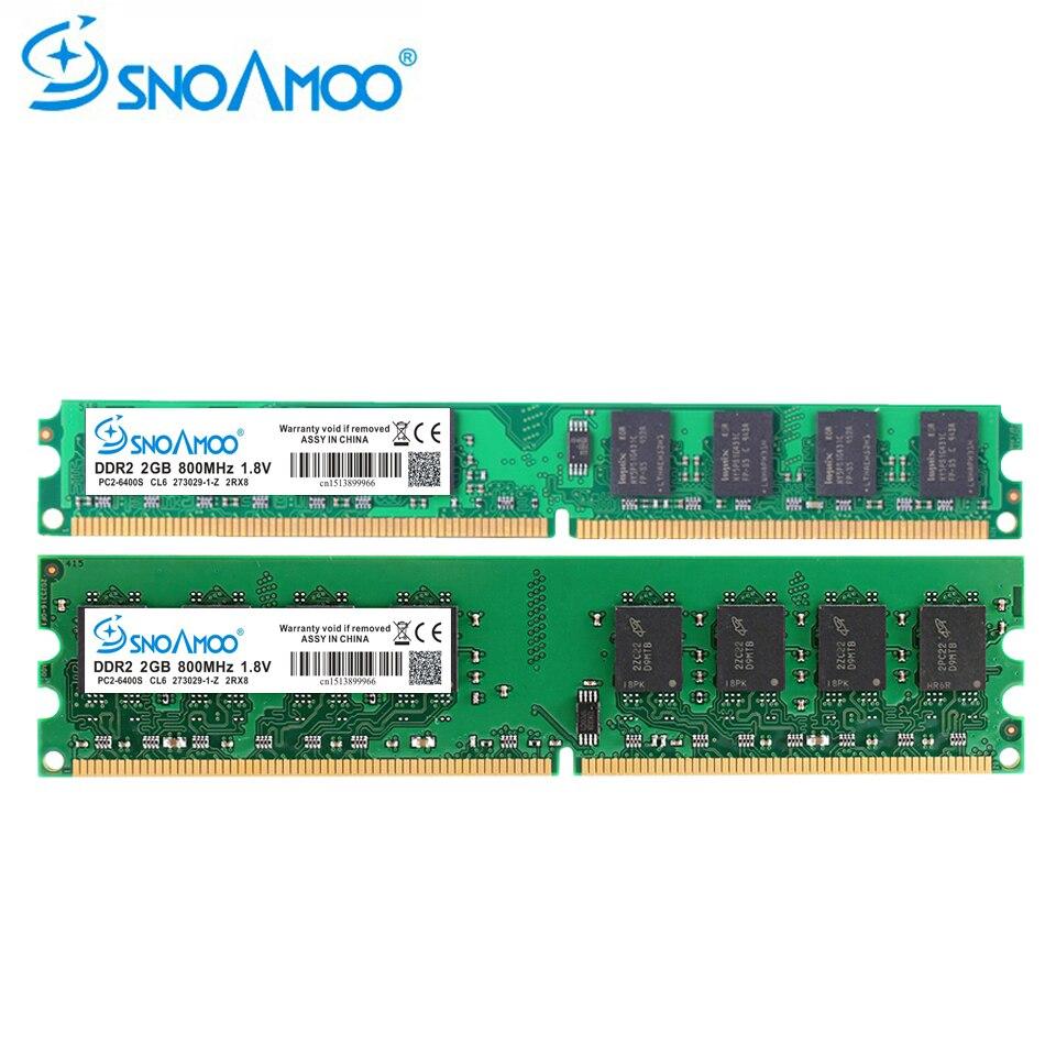 SNOAMOO Desktop PC DDR2 2X2 GB Ram 800 MHz 667 Mhz PC2-5300U CL6 240Pin 1,8 V Speicher Für AMD und Intel Kompatibel Computer speicher