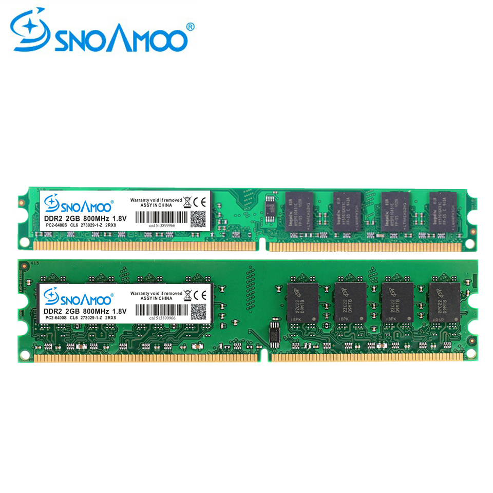 SNOAMOO Desktop PC DDR2 2X2GB Ram 800MHz 667Mhz PC2-5300U CL6 240Pin 1.8 V Memory For AMD And Intel Compatible Computer Memory