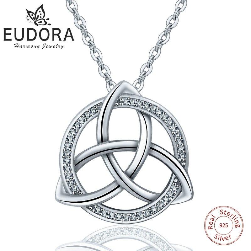 EUDORA 925 de plata esterlina buena suerte irlandés de los Celtics nudo triángulo Vintage CZ colgante collares de cadena de enlace para la joyería de las mujeres C202