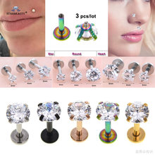 3 pcs 16G 6mm Clear Heart Star Round Bijoux Nose Piercing Nariz Labret Lip Ring Pircing Earring Helix Piercing Tragus Nose Ring(China)