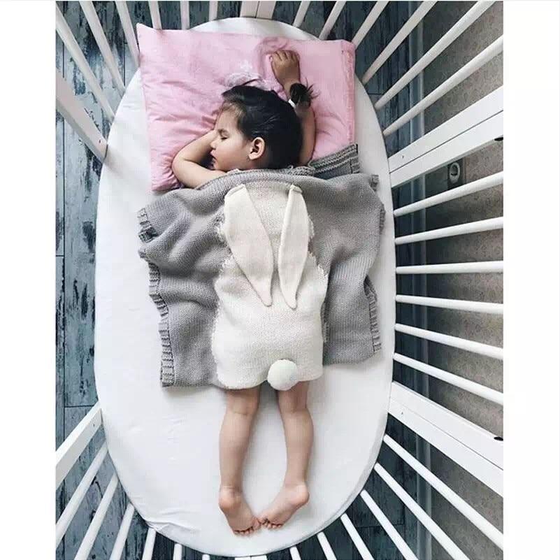 105 * 75 سنتيمتر محبوك الاطفال بطانية اليدوية الصوف المخلوطة لينة الطفل بطانية الوليد الكرتون الأرنب الطفل قماط صوفا رمي