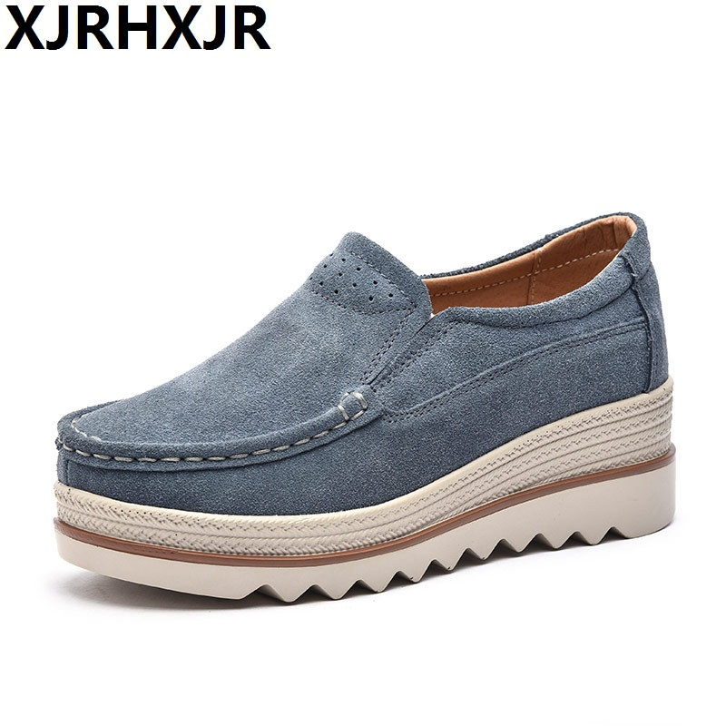 XJRHXJR 2018 Spring Women Flat Shoes Platform Sneakers Shoes Leather Suede Casual Shoes Slip On Flats Heels Creepers Moccasins genuine suede leather women s platform sneakers 2018 women slip on flats creepers moccasins woman casual shoes black pink gray