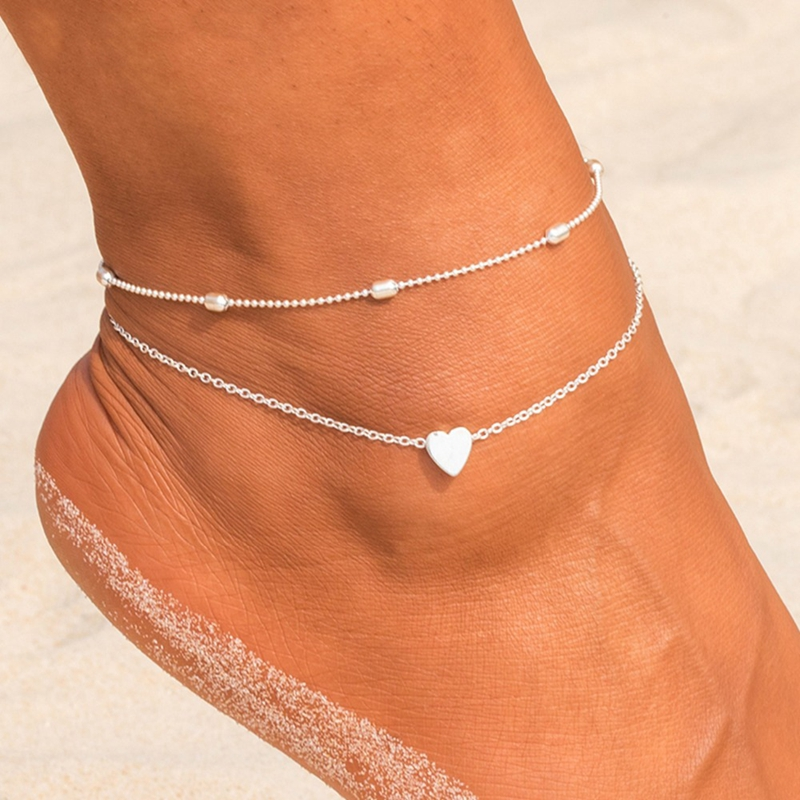 QCOOLJLY Butterfly Pendant Anklets Foot Chain Summer Yoga Beach Leg Bracelet Handmade Anklet Rose Gold Silver Color Jewelry 21