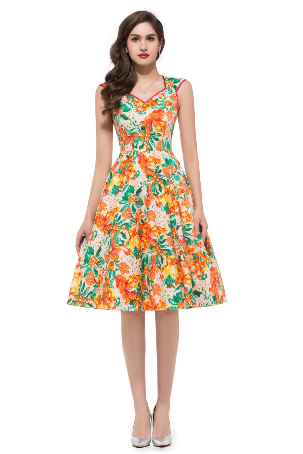 Vintage Flower Pattern Women Casual Dress 2015 Robe Sexy Woman ...