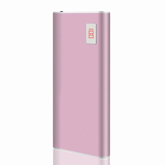 Rosa de Ouro Ultra-fino Power Bank 12000 mah Dual USB Li-Polímero Bateria Externa powerbank Carregador Portátil Para tudo telefone