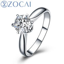 ZOCAI Century Classic Natural Real 1.0 CT Certified F-G/SI Round Cut Diamond Engagement Women Ring 18K White Gold (AU750) W04354 zocai brand real diamond wedding earrings 18k white gold au750 free ship jbe90254t