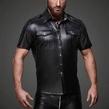 ผู้ชาย Faux หนังเสื้อหนัง PU T เสื้อผู้ชายเซ็กซี่ฟิตเนสเกย์น้ำยางเสื้อยืด Tees Mens STAGE Tops TEE เซ็กซี่ปาร์ตี้ Clubwear