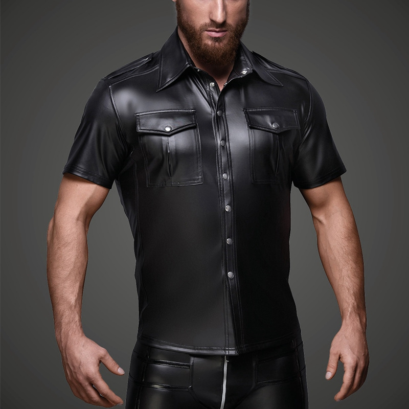 Men Faux Leather Shirts PU Leather T Shirts Men Sexy Fitness Tops Gay Latex T-shirt Tees Mens Stage Tops Tee Sexy Party Clubwear