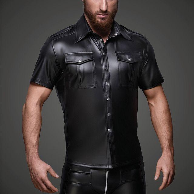 Men PU Leather T Shirts