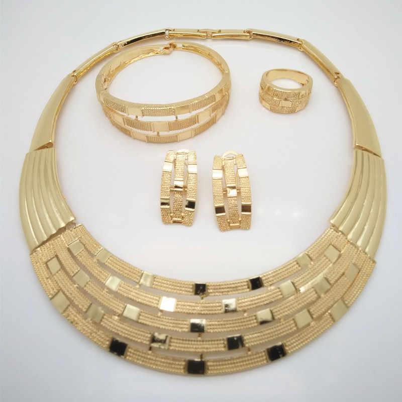 Kingdom Ma แอฟริกาไนจีเรียงานแต่งงานเจ้าสาวเครื่องประดับขนาดใหญ่ชุดดูไบ GOLD สีคริสตัลสร้อยคอสร้อยข้อมือต่างหูแหวน