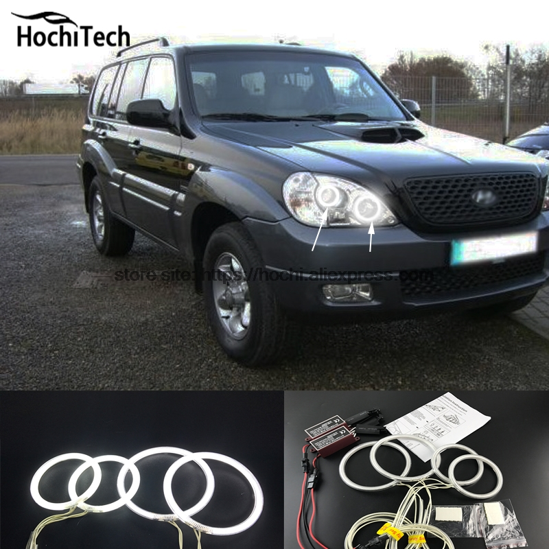 HochiTech WHITE 6000K CCFL Headlight Halo Angel Demon Eyes Kit angel eyes light for Hyundai Terracan 2001-2007 hochitech white 6000k ccfl headlight halo angel demon eyes kit angel eyes light for vw volkswagen golf 5 mk5 2003 2009