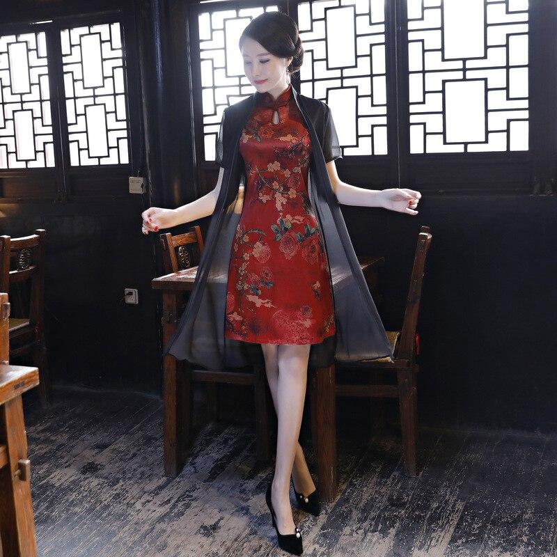 Breve Stampa Dress Arrivo Elegante Nuovo Cheongsam Della Mandarino 2 Formato Qipao Stile Delle Del Cinese M Donne Lady xxxl Collare Novità Fiore Slim 1 tzdXw7xrqw