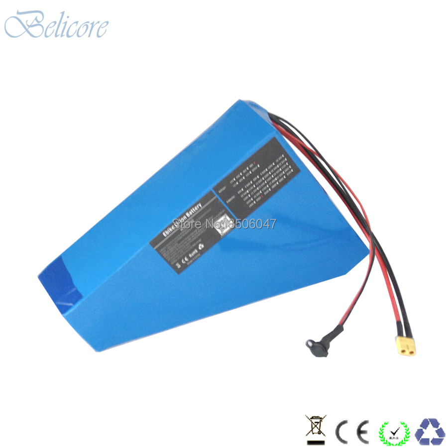 Best free shipping 48v 1500w electric bike li-ion battery 48v 30ah triangle ebike battery 48v 31.5ah with 4A charger 2