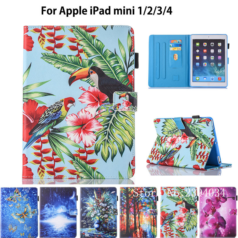 все цены на  Fashion Print Case For Apple iPad Mini 1 2 3 4 Smart Case Cover Funda Tablet Cute Cartoon Silicone PU Leather Stand Shell  онлайн