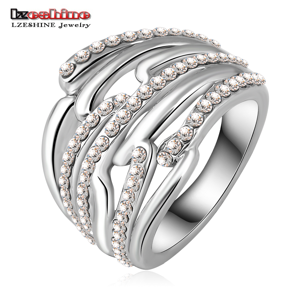 Eternity Rings With  Silver Plating Pave Cz Crystals