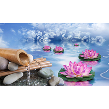 Full Square Drill 5D DIY Lotus stones water pink flowers clouds diamond painting Cross Stitch 3D Embroidery Kits home decor H38