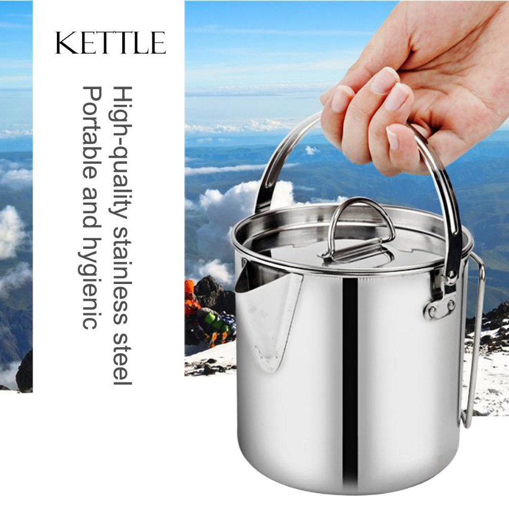 1200ML Camping Water Kettle Stainless Steel Kettles Coffee Pot Outdoor Cookware Canteen Set Portable Foldable 4 in 1 stainless steel foldable camping cutlery
