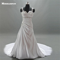2018 Real Photos Mermaid Beaded Straps Sweetheart Neckline Pleated Lace up Back Wedding Dresses Bridal Gown Robe De Marriage