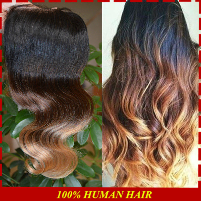 Honey Blonde Ombre Lace Closures Virginy Peruvian Body Wave Humen