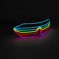 6 Color Multi Colors EL Glowing Glasses Fashion Neon LED Light Up Shutter Shaped Glow Glasses