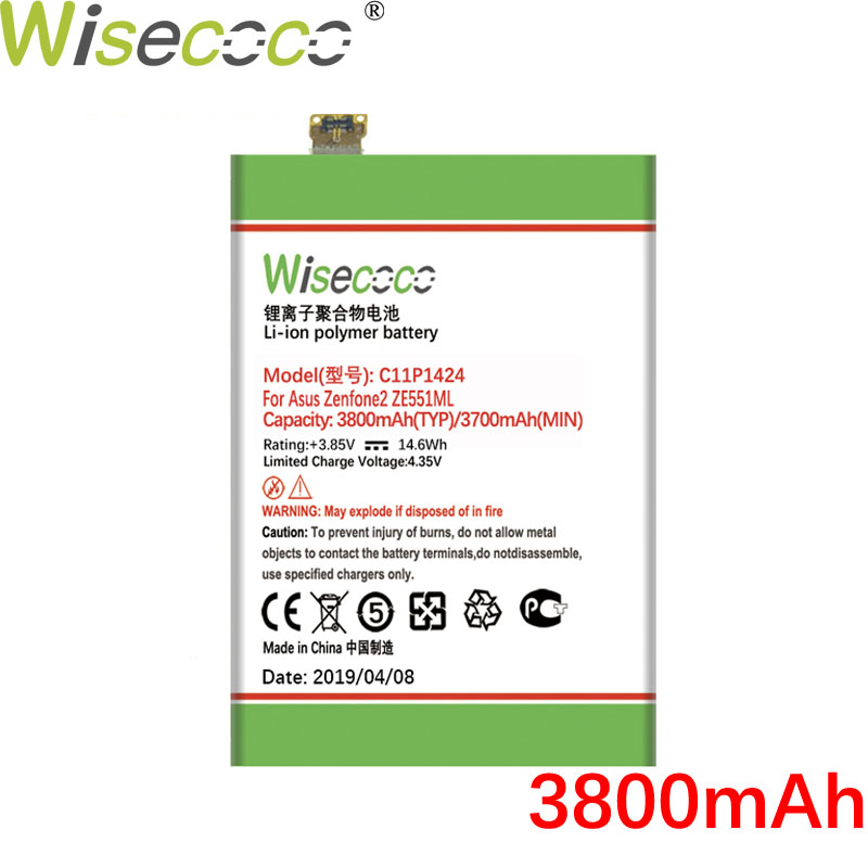 Wisecoco C11P1424 3800mAh Battery For Asus Zenfone 2 Z00AD Z00ADB ZE551ML ZE550ML Z00A Z008D Z00ADA 5.5 Inch Phone Parts(China)