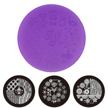 1pcs New Purple Plastic Nail Art Stamping Template Plates 7cm OM-D Series DIY Polish Design Printing Mould Manicure Tools