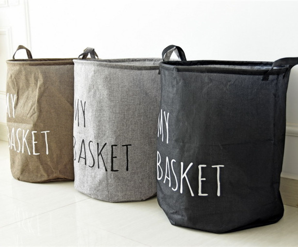 large size Zakka Handle Stackable Multi-function Waterproof Recycle Bin Storage Box Linen Toy collection Laundry basket 0620