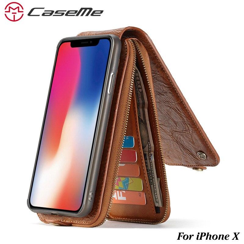 Caseme кожаный чехол для iPhone X Ретро Съемная 2 в 1 флип слот для карты Денежные молния кошелек-чехол для Apple iPhone X Телефонные чехлы